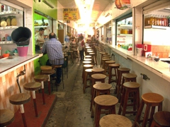 Bar stools set out for patrons; Tapachula food court