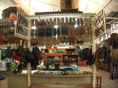 Leather sandals for sale; Tapachula Market