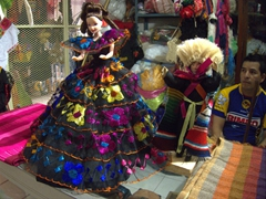Traditionally dressed dolls; Tapachula Market