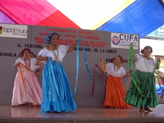 Senior citizens performing in the annual Festival of International Dance; Tapachula's Miguel Hidalgo Park