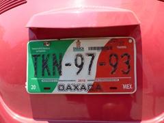 An Oaxaca license plate