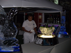 Ice sculptures at the bar for the white hot party