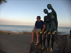Robby becomes one with the sculpture; Puerto Vallarta malecon