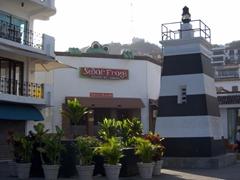 Senor Frog sneaks a peek at a traffic roundabout; Puerto Vallarta