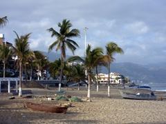 The empty beach of Puerto Vallarta