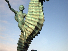A sea horse sculpture on the malecon in Puerto Vallarta