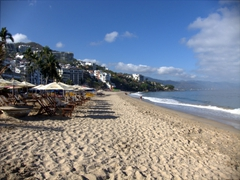 An inviting stretch of beach in picturesque Puerto Vallarta
