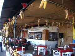 Corn ornaments at a beachside restaurant shack in Puerto Vallarta
