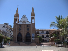 Our Lady of Refuge church is adjacent to Miguel Hidalgo Park in Puerto Vallarta