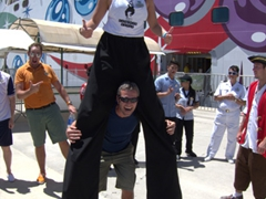Robby and the stilt walker; Puerto Vallarta cruise port