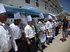 The Norwegian Pearl's chefs greet returning guests with an impromptu port side party; Puerto Vallarta