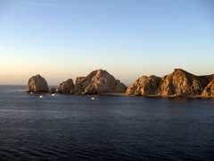 Early morning view of Cabo San Lucas (where we had to catch a tender into town)