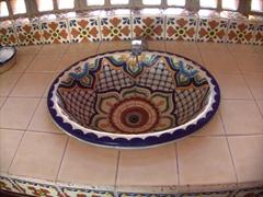 A pretty ceramic washbasin; Cabo San Lucas' arts & crafts market