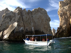 Glass bottom boat tours are popular when visiting Cabo San Lucas as the fish are plentiful