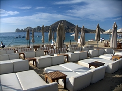Tanning lounge chairs; Medano Beach at Cabo San Lucas