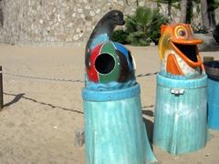 Animal themed trash bins; Medano Beach