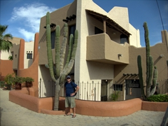 Robby is dwarfed by a massive cactus; Cabo