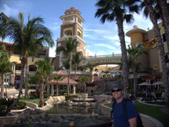 Robby in front of Puerto Paraiso Mall; Cabo