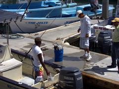 A fisherman contemplates his daily haul; Cabo marina