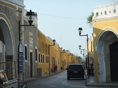 Izamal's streets are full of yellow hued buildings, making it the predominant color in the town