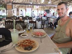 Robby enjoying his Yucatean lunch at El Principe Tutul-Xiu restaurant; Mani