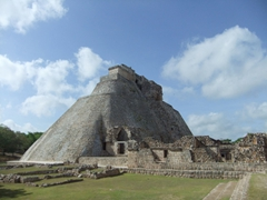 The steep pyramid of the magician (Piramide del Adivino) at Uxmal is off limits to tourists, but we were able to admire it from afar
