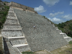 Robby appears miniscule on the Grand Pyramid; Uxmal