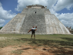 Posing in front of the Pyramid of the Magician; Uxmal