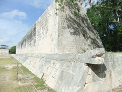Close up of the massive snake carvings at Gran Juego del Pelota, Chichen Itza's famous ball court