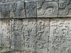 Detailed warrior carvings at Chichen Itza