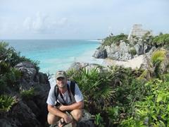 Robby enjoying Tulum's gorgeous ruins