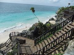 Staircase leading to Tulum's pristine beach