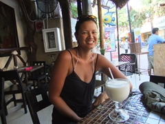 Sipping on a giant pina colada, Playa del Carmen