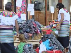Ladies dressed in the traditional Yucatean dress; Playa del Carmen