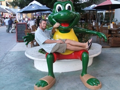 Robby takes a breather on Senor Frogs; Playa del Carmen