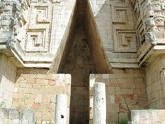 An arrow points skyward at the Governor's palace; Uxmal