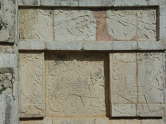 Carvings of eagles and jaguars eating human hearts; Platform of Eagles and Jaguars; Chichen Itza