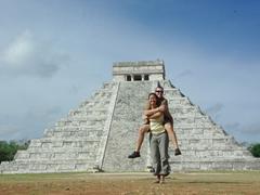 Self portrait at El Castillo; the main pyramid of Chichen Itza