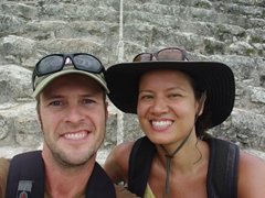 Taking a breather while resting on Nohoch Mul (the Giant Pyramid) of Coba