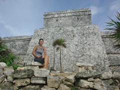 Becky enjoying the vistas of Tulum before it was overrun with tourists later in the morning