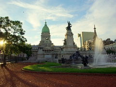 Dusk at the Congressional Plaza; Buenos Aires