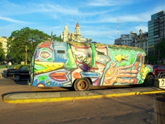 Funky bus parked on a BA street