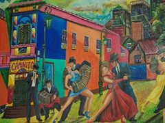 A colorful painting for sale; Caminito
