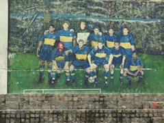 Soccer is HUGE in Argentina! This is a mural of the Boca Juniors soccer team; Caminito