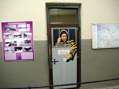 Becky doesn't look thrilled to be in jail; Ushuaia maritime/prison museum