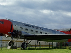 """The """"Armada Argentina"""" plane sits out the outskirts of Ushuaia"""