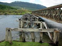 A derelict bridge; Tierra del Fuego park