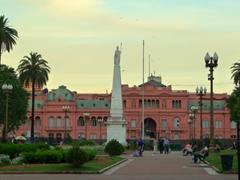 The Pirámide de Mayo and Presidential Palace (Casa Rosada); Plaza de Mayo, Buenos Aires