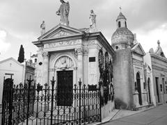 A black and white view of La Recoleta Cemetery
