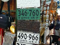 Fancy a licence plate? Plenty on sale at the kitschy San Telmo market